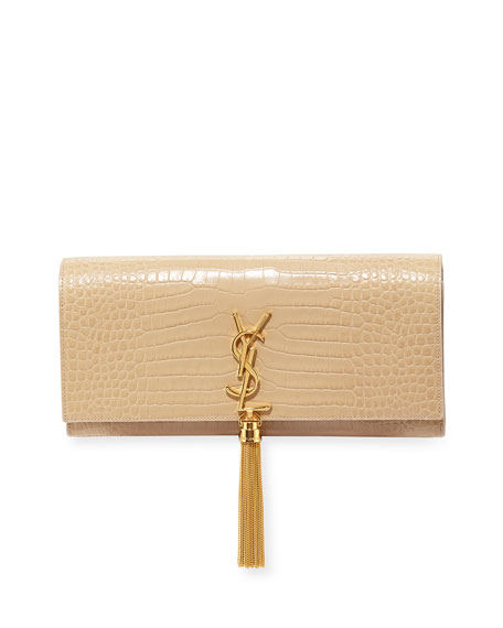 Saint Laurent Crocodile-Embossed Clutch Bag, Powder