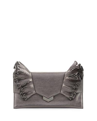 Isabella Laser-Cut Ruffled Clutch Bag, Dark Gray