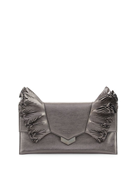 Isabella Laser-Cut Ruffled Clutch Bag, Dark Gray
