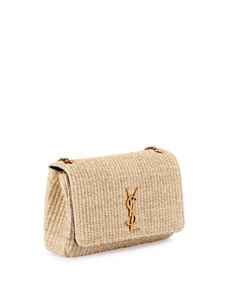 Kate Monogram Medium Raffia Chain Shoulder Bag, Neutral