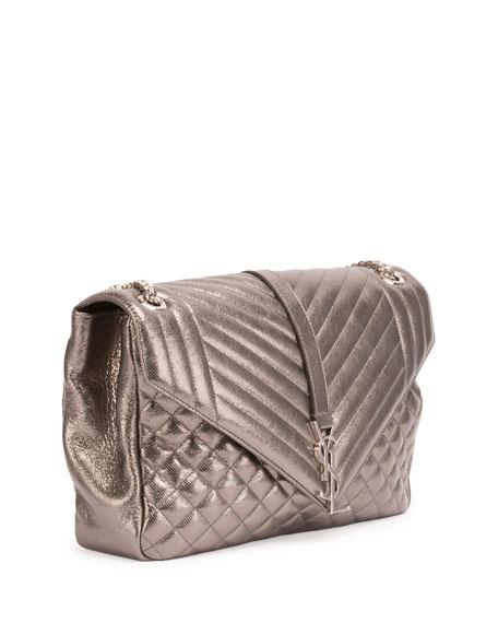 Loulou Monogram Large Chain Tri-Quilt Envelope Shoulder Bag, Gray