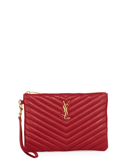 Saint Laurent Monogram Quilted Pouch Wristlet Wallet, Red