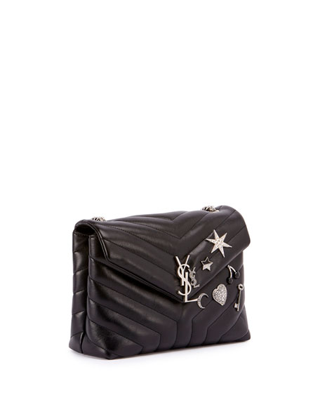 Monogram Small Charm Y-Quilted Chain Shoulder Bag, Black