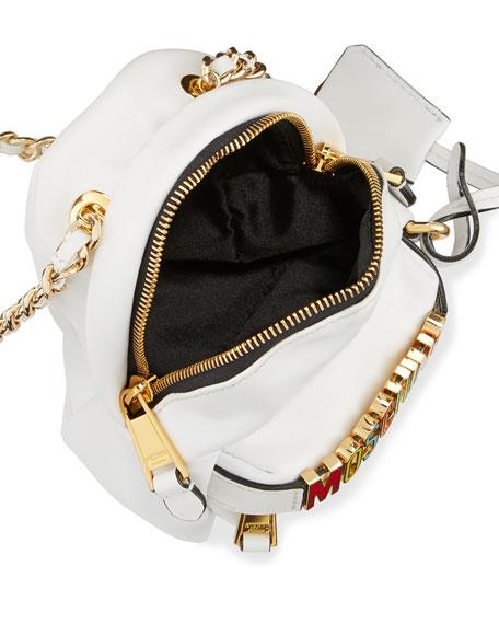 Mini Leather Backpack-Shaped Crossbody Bag, White/Multi