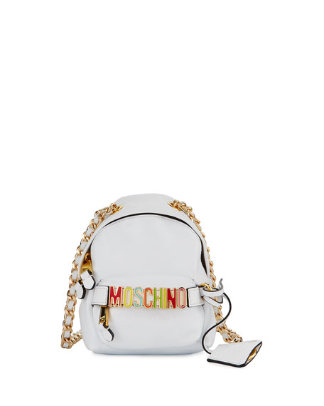 Moschino Mini Leather Backpack-Shaped Crossbody Bag, White/Multi