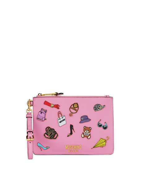 Fashion Pins Zip-Top Flat Clutch Bag, Pink/Multi