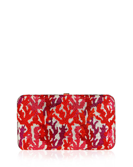 Judith Leiber Couture Coral Crystal Rectangle Clutch Bag,