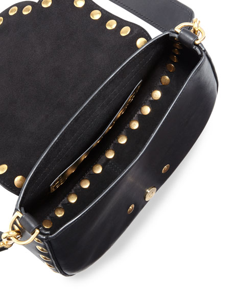 Navigator Floral Studded Flap Shoulder Bag, Black