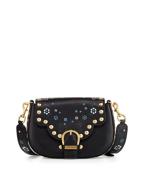 Marc Jacobs Navigator Floral Studded Flap Shoulder Bag,