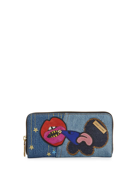 Marc Jacobs Denim Patches Continental Wallet