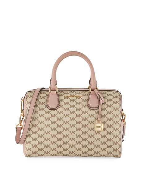 Mercer Medium Leather Duffle Bag, Beige