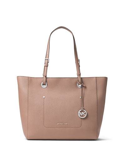 Walsh Large East-West Top-Zip Tote Bag, Beige