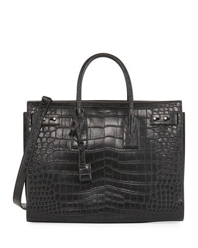 Sac de Jour Medium Crocodile-Embossed Satchel Bag