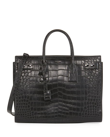 Saint Laurent Sac de Jour Medium Crocodile-Embossed Satchel
