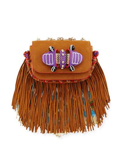 Sweet Charity Beaded Fringe Crossbody Bag, Brown