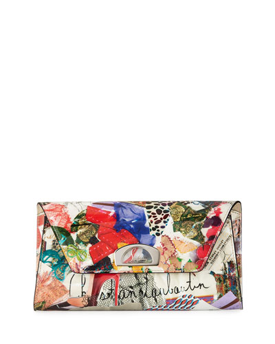 Vero Dodat Flap Trash-Print Patent Clutch Bag, Multi