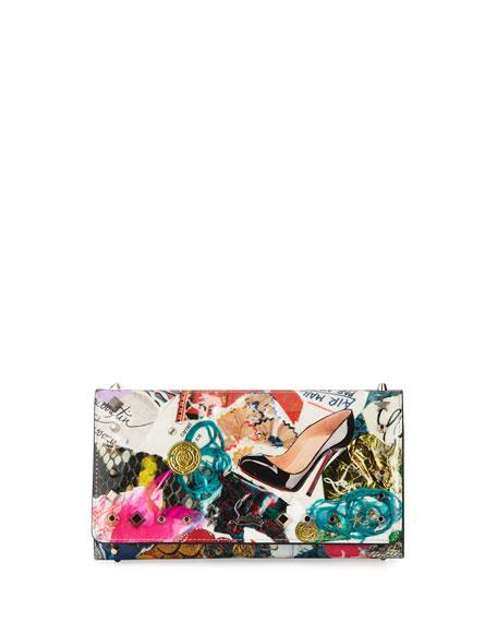 Christian Louboutin Macaron Trash-Print Flap Wristlet Wallet,