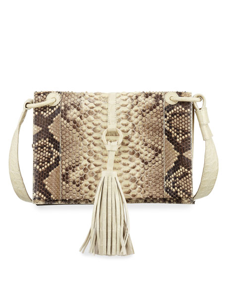 Nancy Gonzalez Python Small Tassel Crossbody Bag, Cream