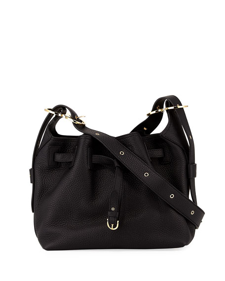 Salvatore Ferragamo Carla Small Pebbled Leather Bucket Bag