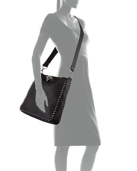 Rockstud Small Flip-Lock Hobo Bag, Black