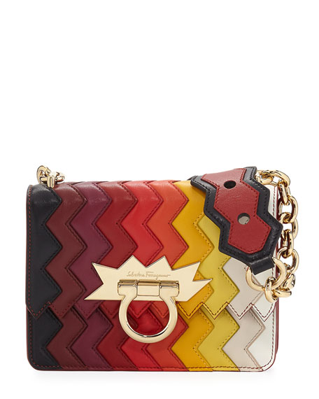 Small Chevron Flap Bag, Multi
