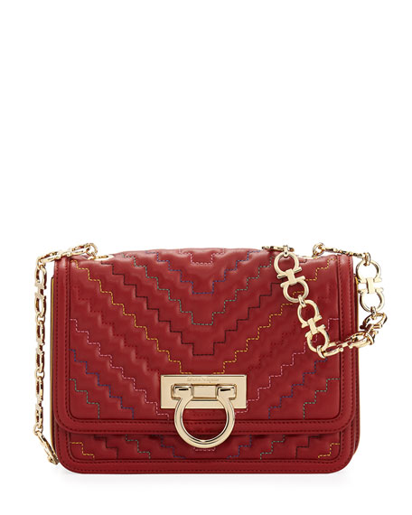 Salvatore Ferragamo Medium Quilted Flap Bag, Red
