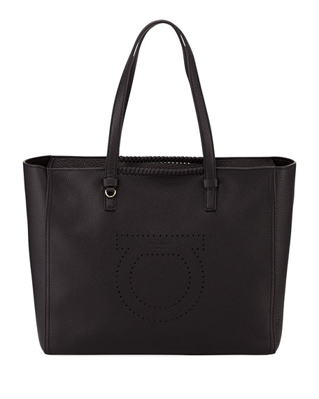 Salvatore Ferragamo Large Pebbled Leather Tote Bag