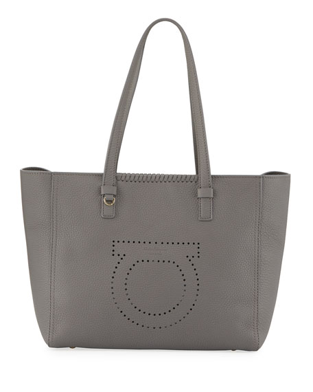 Salvatore Ferragamo Large Perforated Tote Bag, Gray