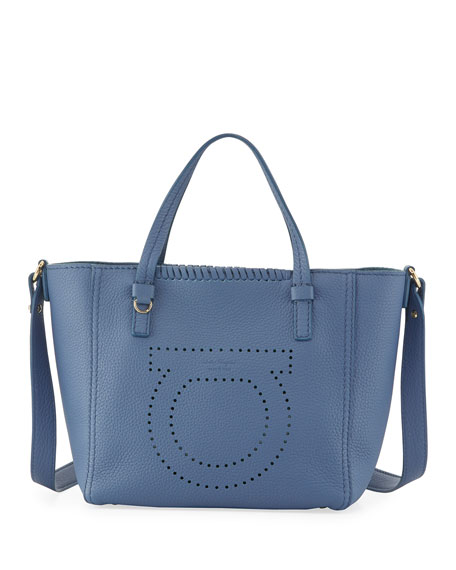 Salvatore Ferragamo Marta Small Perforated Tote Bag, Blue