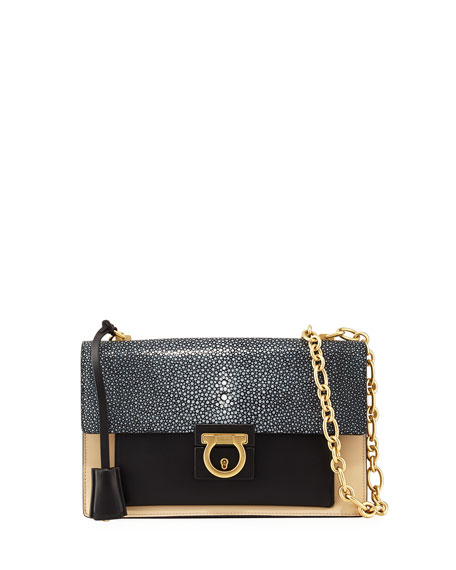 Salvatore Ferragamo Aileen Medium Stingray Flap Bag, Black