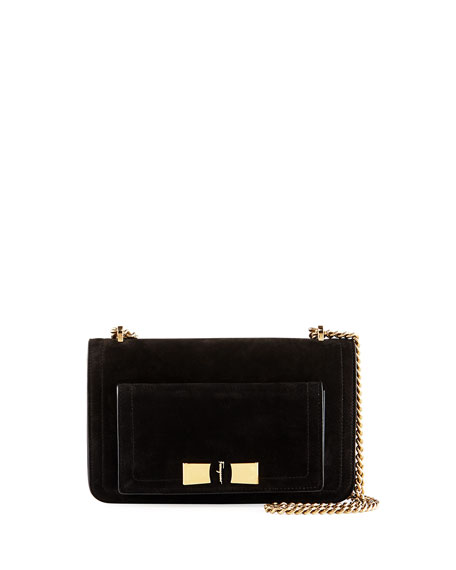 Salvatore Ferragamo Medium Flap Shoulder Bag, Black