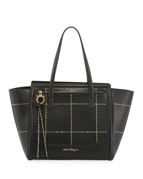 Salvatore Ferragamo Medium Leather Tote Bag, Black