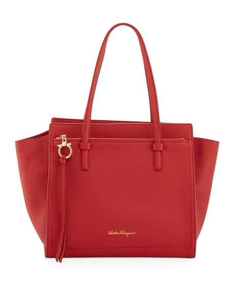 Salvatore Ferragamo Medium Leather Tote Bag, Red