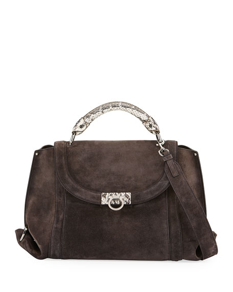 Salvatore Ferragamo Sofia Medium Soft Satchel Bag, Brown