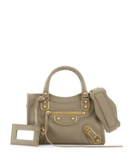 Balenciaga Edge City Mini Leather Satchel Bag, Light