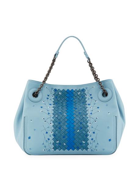 Bottega Veneta Medium Woven Flower Shoulder Bag, Cobalt