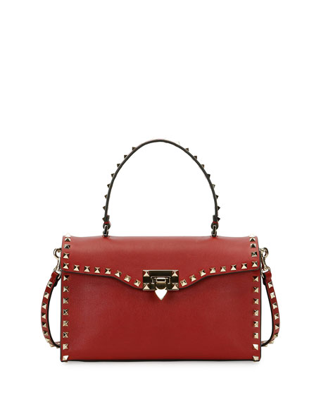 Valentino Garavani Rockstud Small Single-Handle Satchel Bag, Red