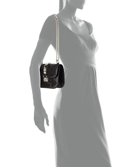 Lock Small Butterfly Shoulder Bag, Black