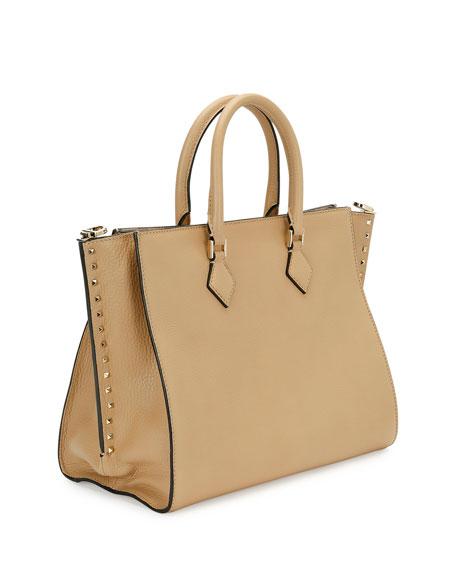 Rockstud Double-Handle Tote Bag, Beige