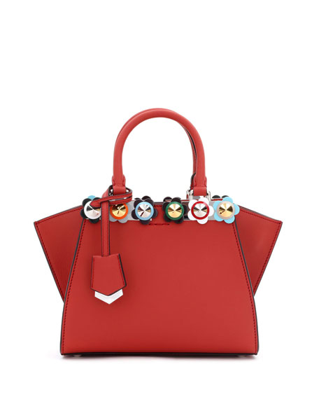 3Jours Mini Floral-Stud Tote Bag, Red Pattern