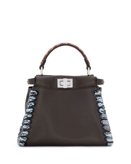 Fendi Peekaboo Medium Snakeskin Whipstitch Satchel Bag