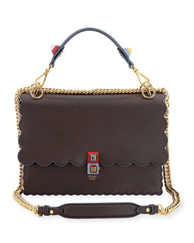 Fendi Kan I Scalloped Leather Shoulder Bag, Black/Multi