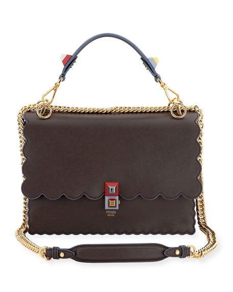 ec8539bae33 Fendi Double-Sided FF Canvas   Leather Shoulder Bag   Neiman Marcus