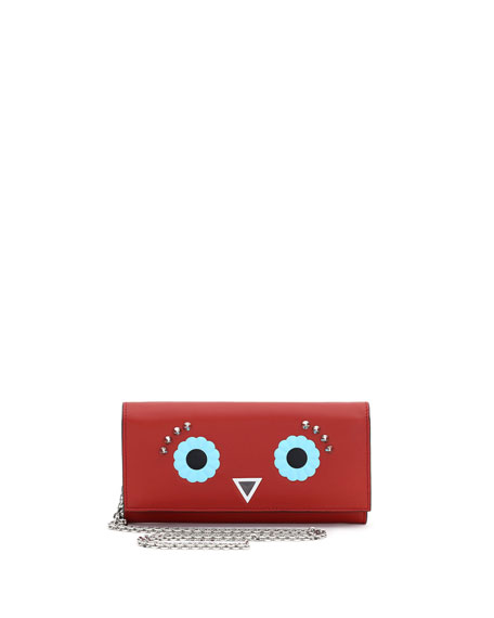 Faces Leather Wallet-on-Chain, Red/Multi