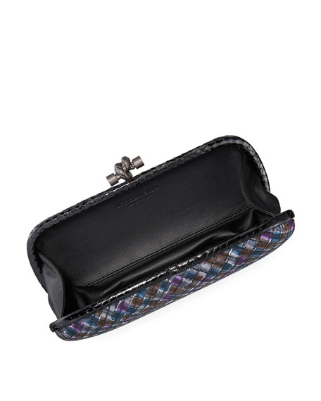 Satin Elongated Knot Clutch Bag, Ardoise/Multi