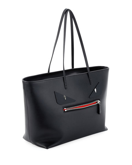 Roll Monster Face Leather Tote Bag, Black