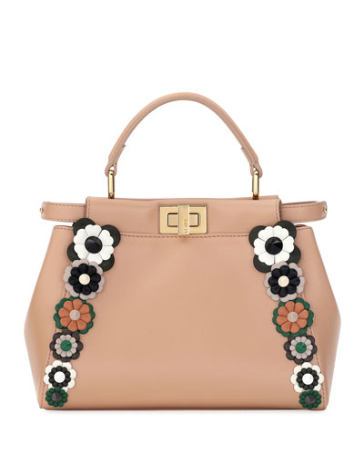 Flowerland Peekaboo Mini Leather Satchel Bag