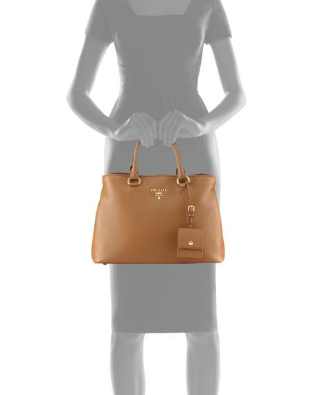 Pebbled Shoulder Tote Bag, Toast