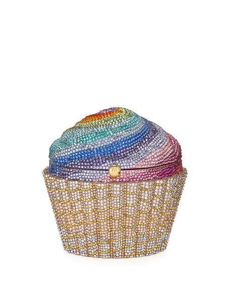 Cupcake Rainbow Clutch Bag, Multicolor in Gold-Multi