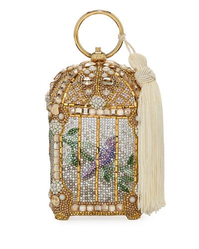 Gilded Bird Cage Framed Clutch Bag, Gold